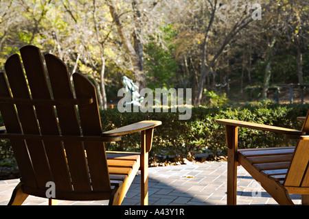 Amazing TEXAS Austin Wooden Adirondack Chairs On Patio Overlook Umlauf Sculpture  Garden   Stock Photo
