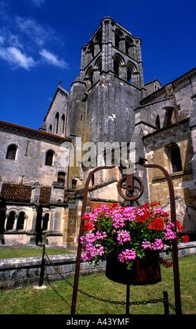 Abbey Monastery Cloister Vezelay France French Basilica of St Mary Magdalene - Stock Photo