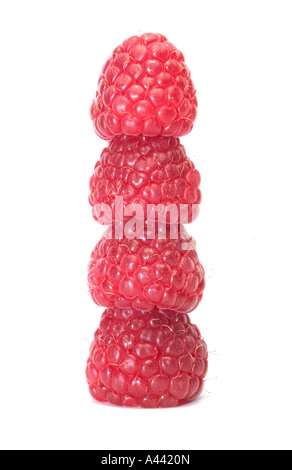 Four raspberries stacked on top of each other isolated on white - Stock Photo
