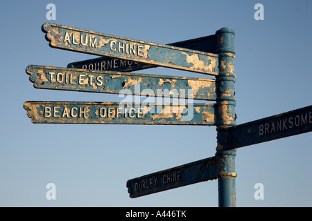 sign post on the beach at alum chine pointing towards bournemouth dorset england uk - Stock Photo