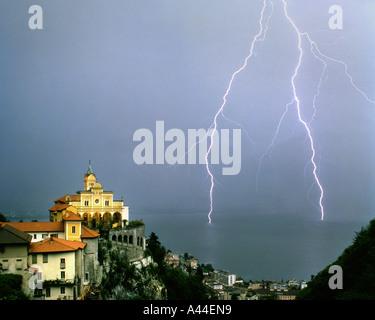 CH - TICINO:  Madonna del Sasso above Locarno and Lago Maggiore - Stock Photo