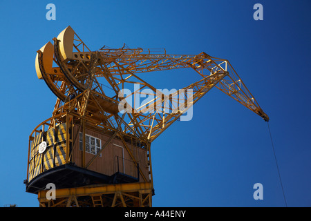 Argentina Buenos Aires Province Buenos Aires Restored crane situated on the dock side of Puerto Madero - Stock Photo