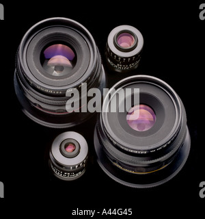 Nikon macro lenses from the Multiphot macro photography system 19mm 35mm 65mm 120mm lenses - Stock Photo