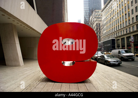 Nine sculpture in front of solow building on 57th street - Stock Photo