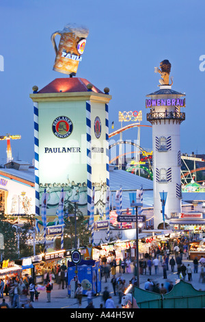 Germany Munich OKTOBERFEST with beer tents - Stock Photo & Germany Oktoberfest fixed tent visitor couple man drunk ...
