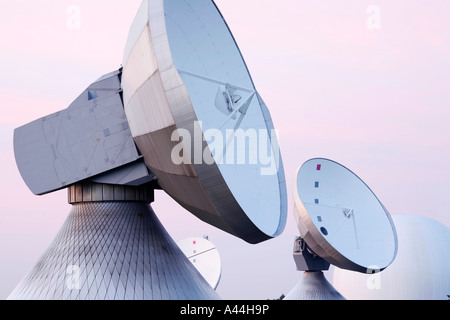 Germany Bavaria big satellite dishes near the town of RAISTING - Stock Photo