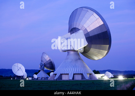 Germany, Bavaria, big satellite dishes near the town of RAISTING - Stock Photo
