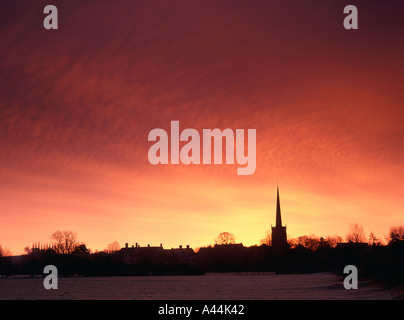 Repton village at dawn, Vale of Trent, Derbyshire, England - Stock Photo