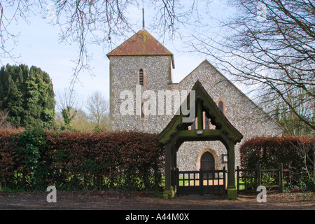Church of St Mary the Virgin in Clapham village, West Sussex. - Stock Photo