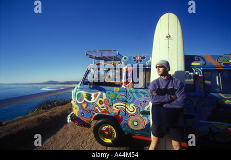 surfer and kombi van sip 3560 - Stock Photo