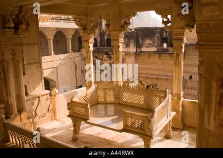 India Rajasthan Bundi Garh Palace marble audience throne - Stock Photo