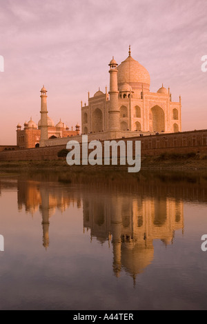 India Uttar Pradesh Agra Taj Mahal reflected in River Yamuna at sunset - Stock Photo