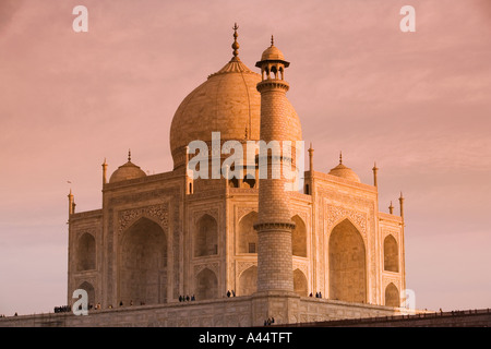India Uttar Pradesh Agra Taj Mahal from rear at sunset - Stock Photo