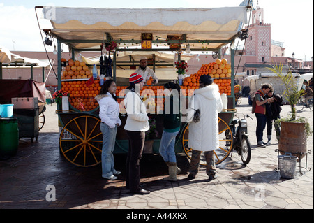 Orange cart, Jemaa El Fna main square, Marrakesh / Marrakech, Morocco, North Africa, 2007 - Stock Photo