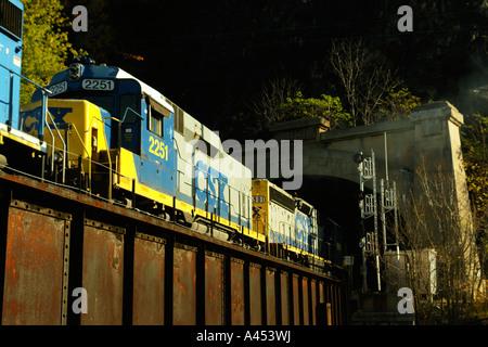 AJD53632, Harpers Ferry, WV, West Virginia, tunnel, railroad bridge, freight train - Stock Photo
