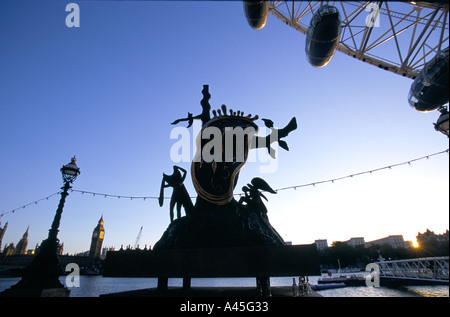 the nobility of time sculpture by spanish surrealist salvador dali skyline of houses of parliament westminster london - Stock Photo