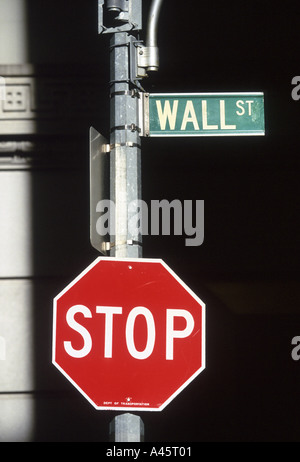 wall st sign new york a street sign for wall street outside the new york stock exchange on wall street manhattan - Stock Photo