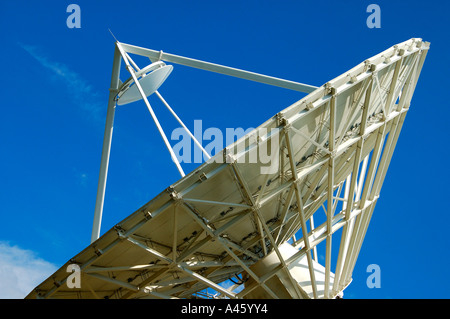 Cassegrain Parabolic antenna with subreflector Satellite Land Earth Station Leuk Valais Switzerland - Stock Photo