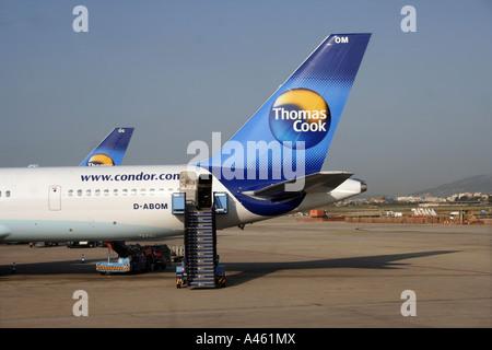 A Thomas Cook plane at the airport in Palma de Majorca, Spain - Stock Photo