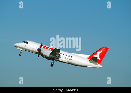 OLT aircraft taking off from London City Airport Silvertown East London England UK - Stock Photo