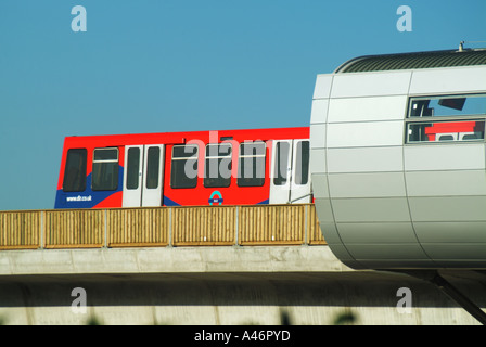 London Pontoon Dock station on elevated section of the Docklands Light Railway run by Serco - Stock Photo