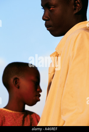 Brother and sister Alice and Pierre are orphans from the Gocide who live together in Ruyigi, Burundi - Stock Photo