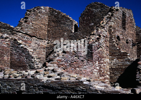 Ruins at Pueblo del Arroyo, Chaco Culture National Historical Park, New Mexico, USA - Stock Photo