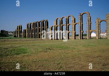 Acueducto de los Milagros - a Roman aqueduct in Merida, Extremadura, Spain - Stock Photo