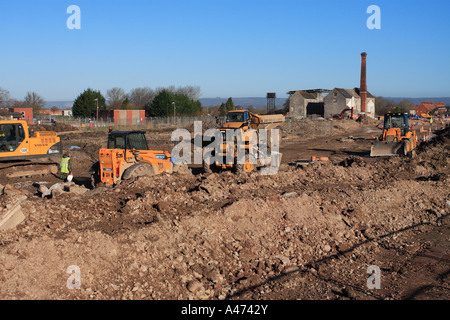 Brown field site urban regeneration of disused former industrial factory site - Stock Photo