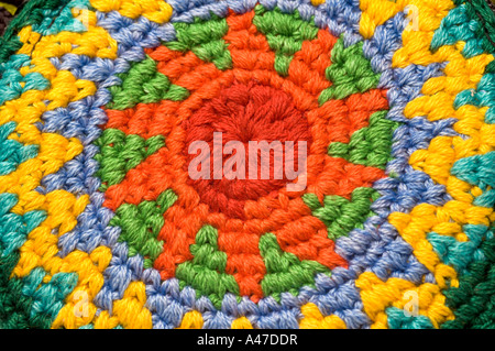 close up detail of knitted woven change purse key holder from central america - Stock Photo