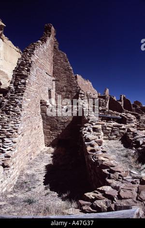 Ruins and Kiva at Pueblo Bonito, Chaco Culture National Historical Park, New Mexico, USA - Stock Photo