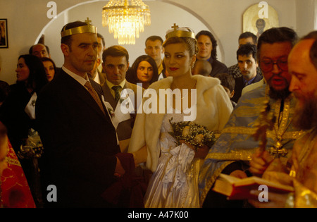 wedding at montenegrin orthodox church in cetinje old capital of montenegro. - Stock Photo