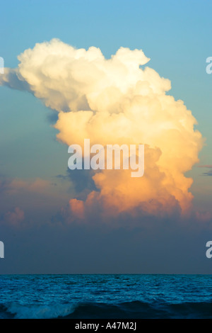 Cloud formation above Atlantic Ocean - Stock Photo