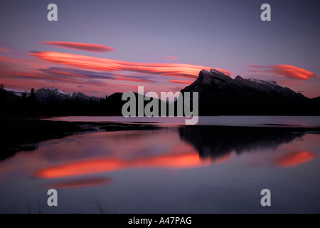Sunset over Mount Rundle at the vermillion lakes in banff in the canadian rockies - Stock Photo