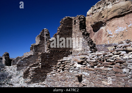 Ruins at Hungo Pavi, Chaco Culture National Historical Park, New Mexico, USA - Stock Photo