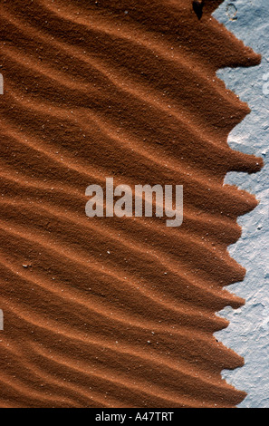 Waves in the sand in the Egyptian White Desert - Stock Photo