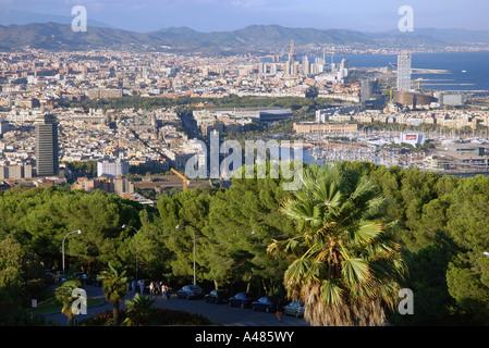 Panoramic view of Barcelona from Castel del Montjuïc Park Barça Catalunya Catalonia Cataluña Costa Brava España - Stock Photo