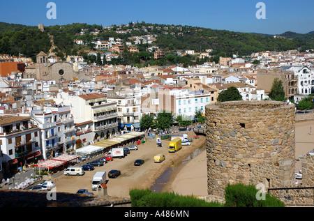 Panoramic view of Tossa de Mar Girona Gerona Catalonia Catalunya Cataluña Costa Brava España Spain Europe - Stock Photo