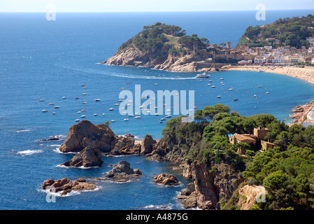 Panoramic view of seafront & beach of  Tossa de Mar Girona Gerona Catalonia Catalunya Cataluña Costa Brava España - Stock Photo