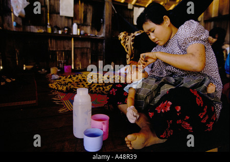 Health centre for Karen refugees from Burma at Mae Sot Thailand - Stock Photo