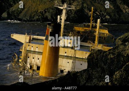 braer oil tanker disaster shetland january 1993 - Stock Photo