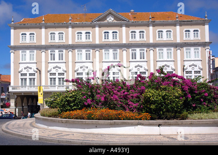 View colourful architecture main square flower old town centre Aveiro Iberia Iberian Peninsula North Northern Portugal - Stock Photo