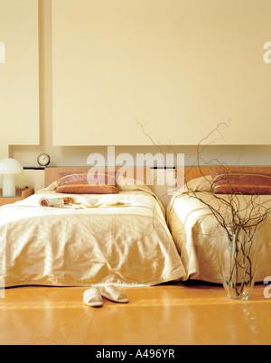 Empty beds in the bedroom - Stock Photo