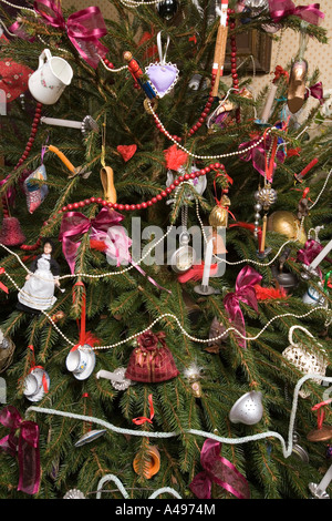 UK Shropshire Ironbridge Blists Hill museum Doctors cottage late Victorian Christmas tree decorations - Stock Photo