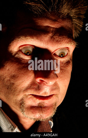 Man with a frightening look on his face - Stock Photo