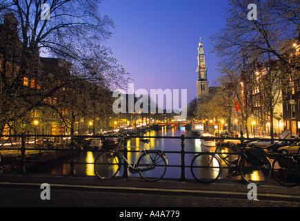 Prinsengracht & Wsterkerk, Amsterdam, Holland - Stock Photo