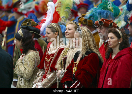 Figurantes during the Florence s Historic Football Match Florence Tuscany Italy - Stock Photo