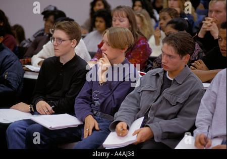 luton university 1994 1st year student at lecture Stock