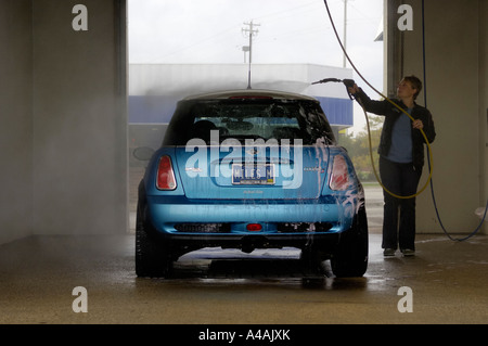 Wash your car yourself stock photo 37983389 alamy woman washing a mini cooper s at a do it yourself car wash stock photo solutioingenieria Images