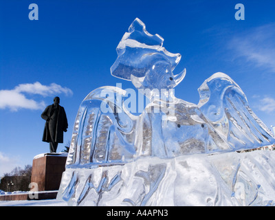 Ice sculptures in Lenin Square in Yuzhno Sakhalinsk Russia - Stock Photo